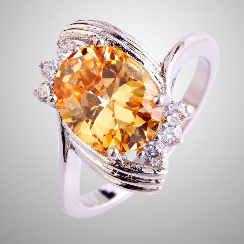 Trendy Elegant Size 6-12 Champagne/&White Topaz Women Men/'s Engagement Ring