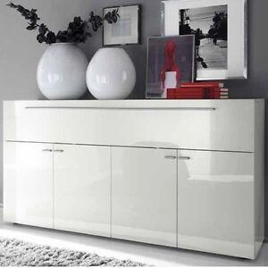 Credenza-madia-moderna-Primo-Line-4-ante-1-ribalta-sala-soggiorno-laccata-bianca