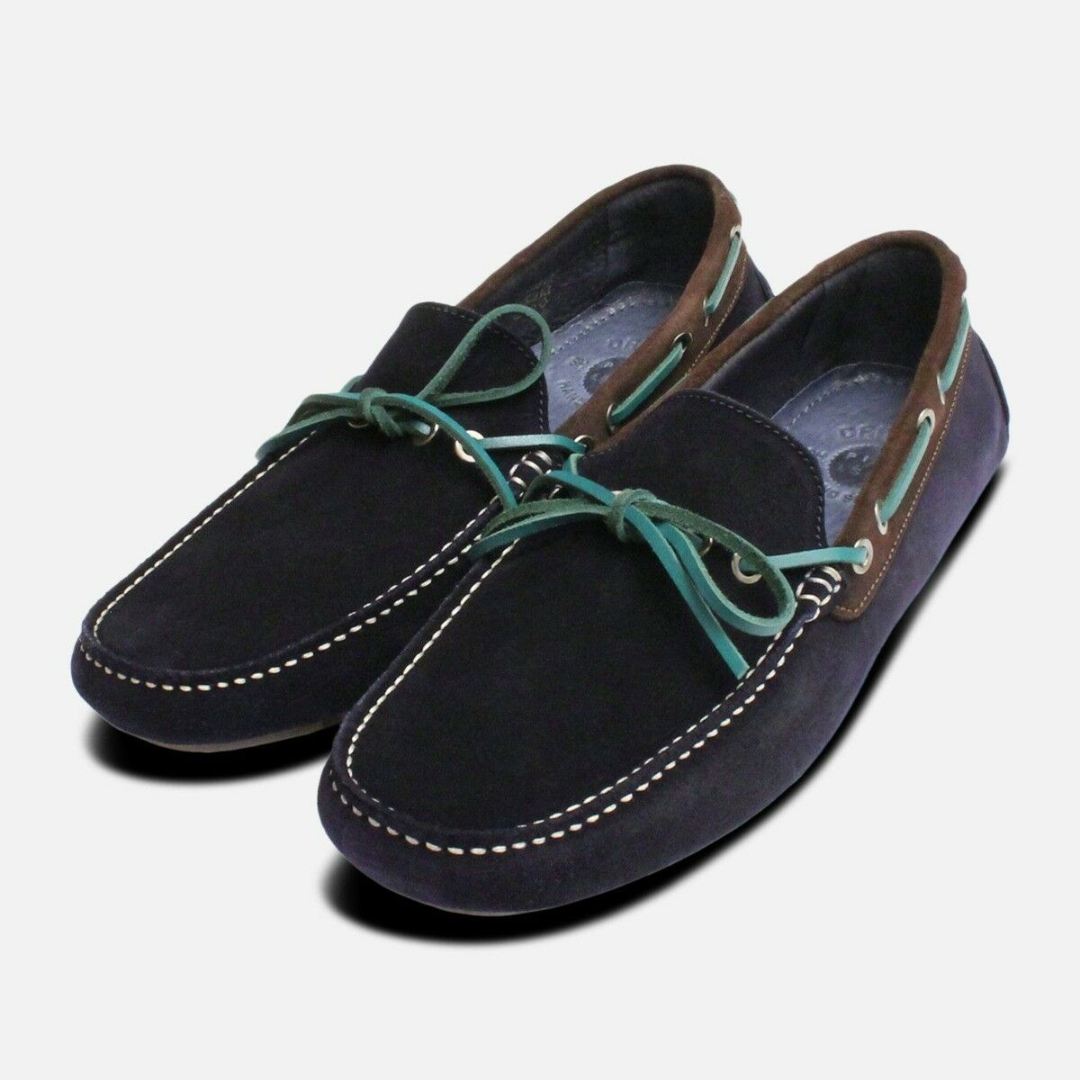 Navy bluee & Green Designer Driving shoes
