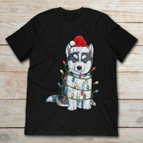 Best Christmas Gift. Siberian Husky Christmas Santa Hat Xmas Black T Shirt
