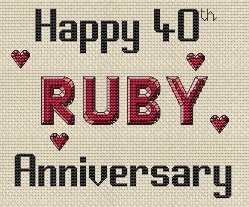 40th Ruby Aniversario Diseño de punto de cruz kit o el cuadro