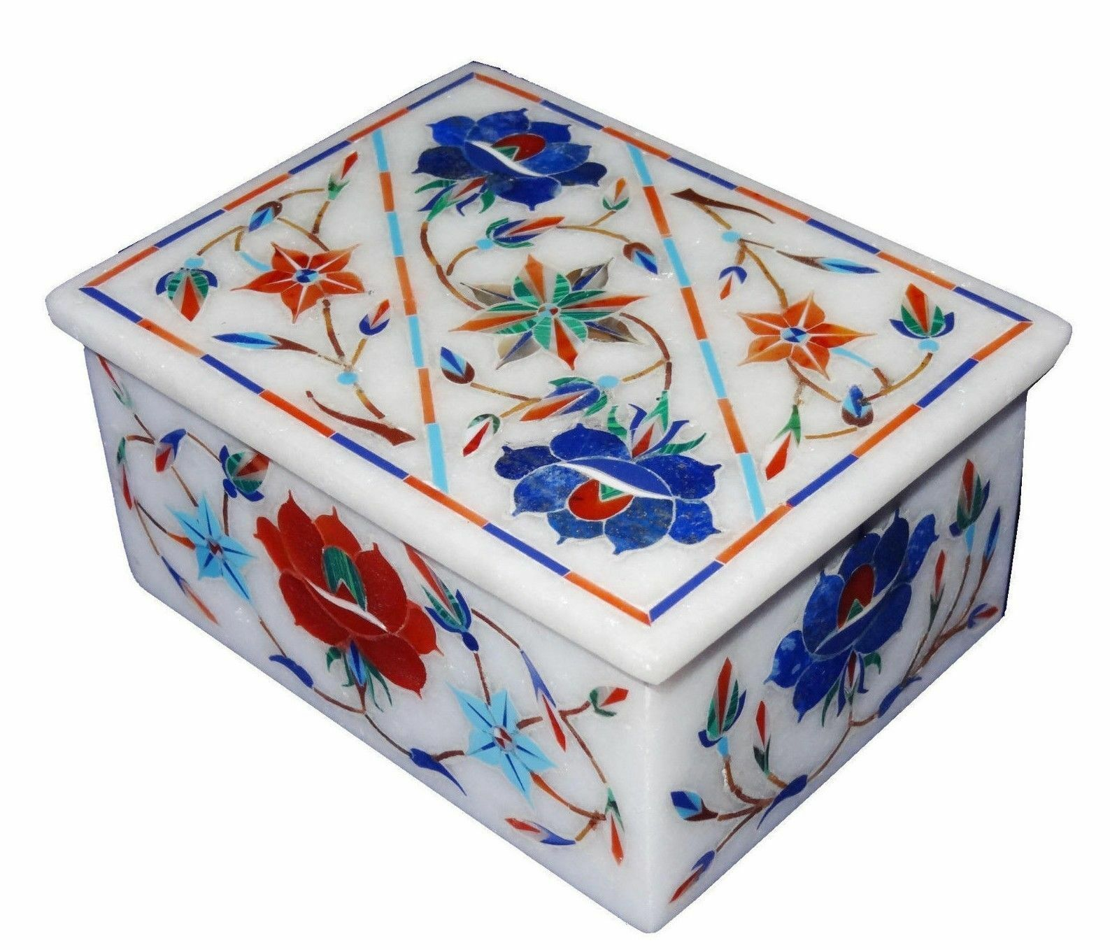4  x 3  Marble ring Box Semi Precious Stones floral handcrafted inlay work decor