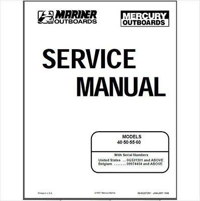 Mercury Mariner 40 50 55 60hp 2 Stroke Service Shop Repair Manual On Cd Ebay
