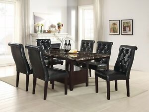Details about Dining Room 7pc Set Black Faux Leather Tufted Chairs Dining  Table Pedestal base