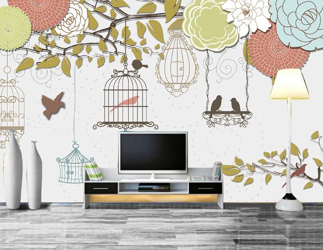 3D Bird And Birdcage 8 Wall Paper Murals Wall Print Wall Wallpaper Mural AU Kyra
