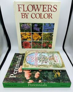 3 Book Lot! 1000 Flowers by Color, Perennials 2,500 Reference, The Lazy Gardener