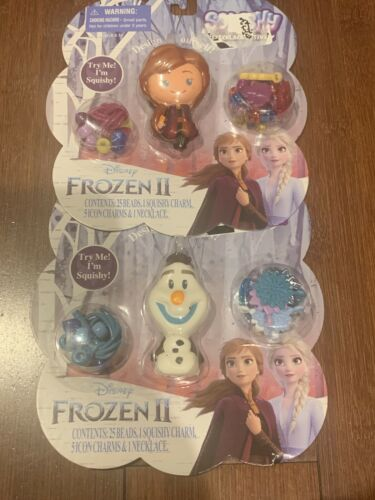 Disney Frozen II Squishy Olaf And Anna necklace activity Lot Of 2