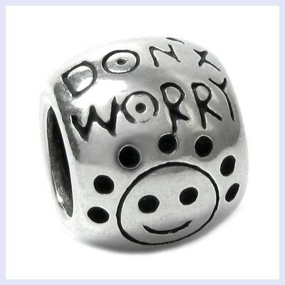 Sterling Silver Don't Worry Be Happy Smile Face Bead for European Charm Bracelet