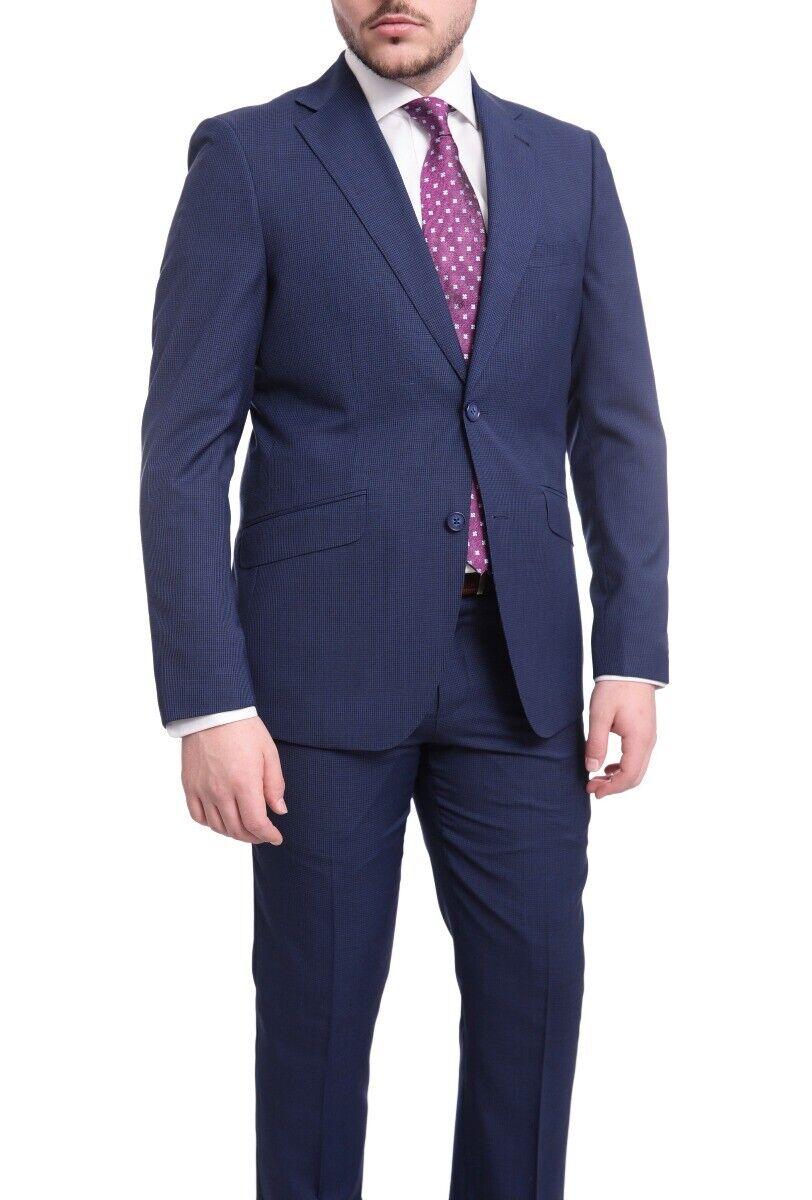 Herren 44S Ideal Schlanke Passform Blau Hundezahn Zwei Knöpfe Woll-Anzug