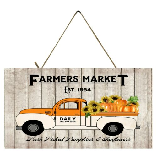 Farmers Market Orange Pumpkin Truck  Printed Handmade  Wood Sign