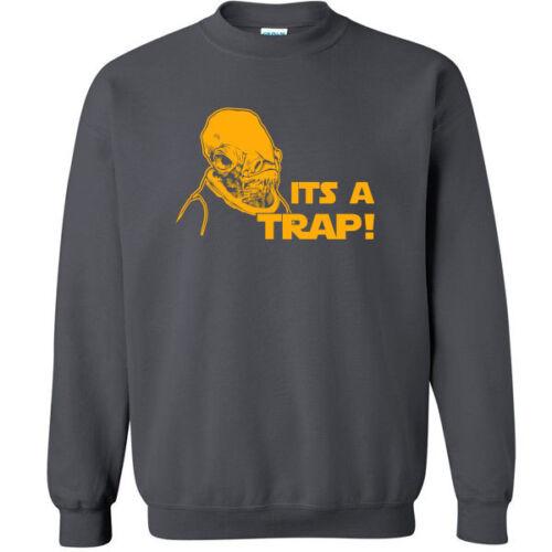 183 Its a Trap mens Crew Sweatshirt ackbar funny star nerd geek wars admiral