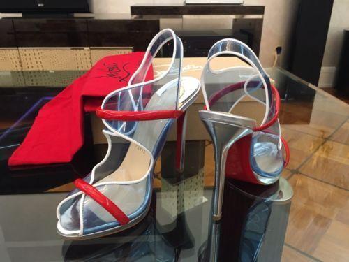 NEW CHRISTIAN LOUBOUTIN Aqua Ronda 120 PVC Red Patent Heels Sandals shoes EU38