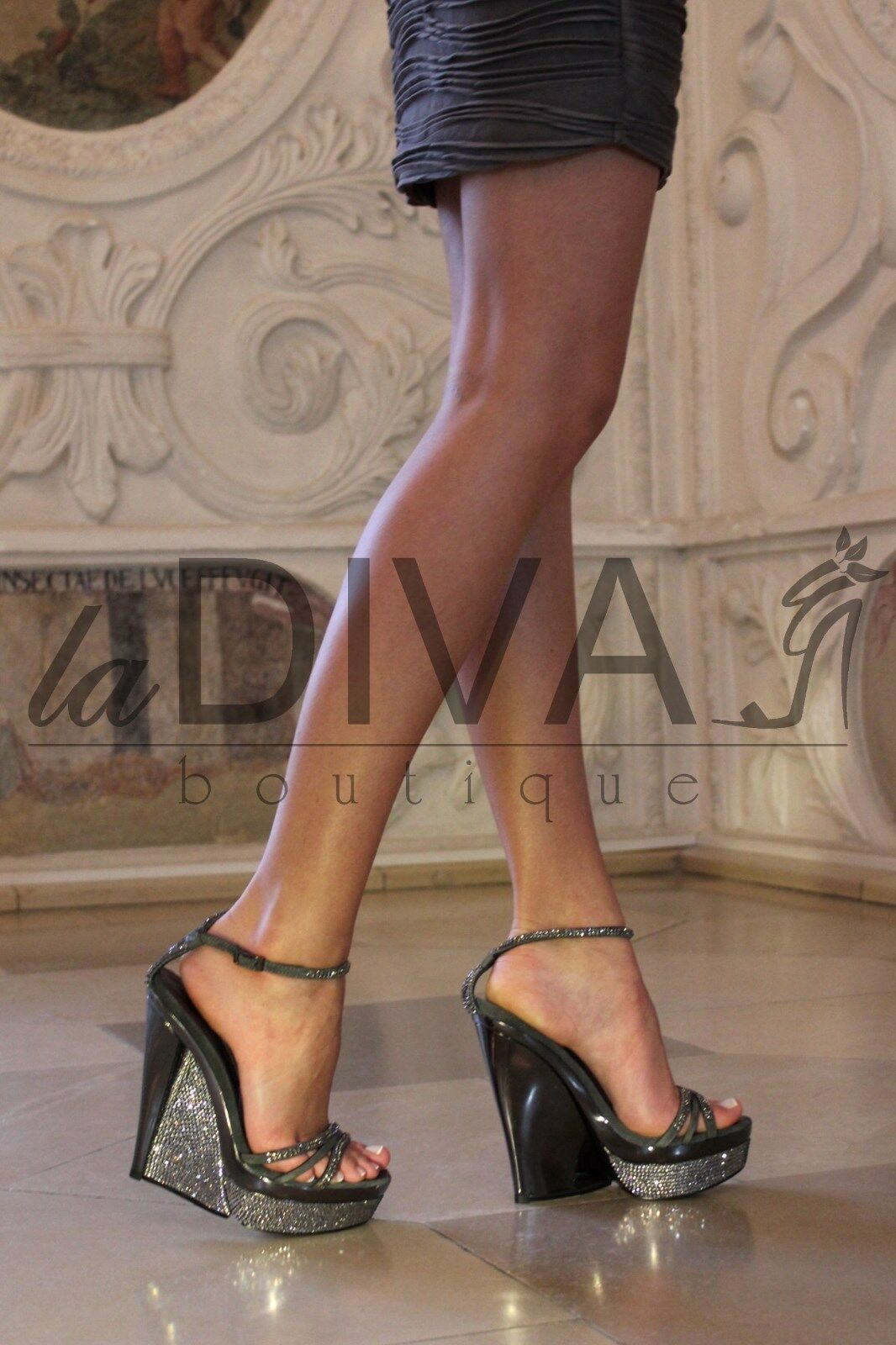ALBERTO VENTURINI   Keil Pumps Sandalette 36 grau Leder %SALE% OVP 239,-€