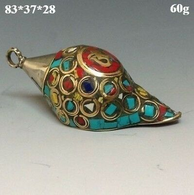 Ancient Chinese Turquoise jewelry&Tibetan silver Conch NR