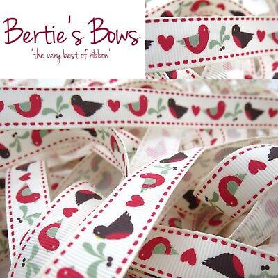 Red Birds /& Hearts 16mm Grosgrain Bertie/'s Bows
