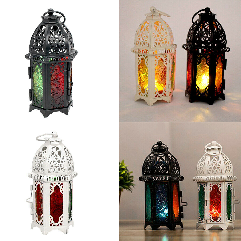 Tea Light Candle Holder Moroccan Lantern Coloured Glass Candlestick White