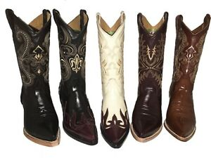 Mens Cowboy Boots Chameleon Print Leather Western Rodeo Botas