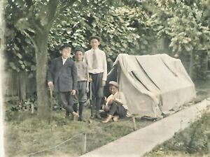 c-1900-Young-Boys-Camping-Backyard-Tent-Vintage-Photo-Glass-Plate-Negative
