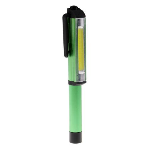 Bright COB LED Pocket Pen Light Inspection Work Light Flashlight With Clip