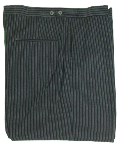"""New Mens Grey /& Black Hickory Striped Trousers Pants Morning Dress 32/"""" Waist"""