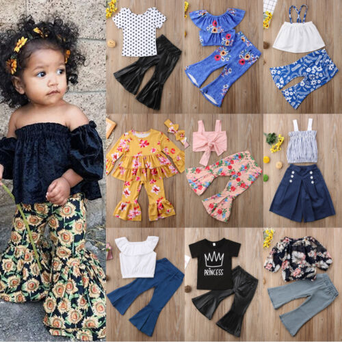 US New FlaredPants Outfit Kids Baby Girl Tops Vest Dress+Loose Leggings Clothes
