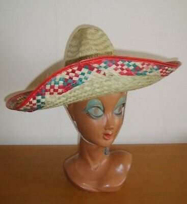 Adulto Messicano Sombrero Cappello Di Paglia Wild West Cowboy Costume Rosso Trim- Giada Bianca