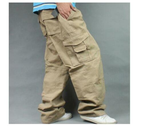 Mens Army Combat Loose Baggy Casual Cargo Pants Cotton Outdoor Work Trousers New