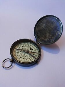 Maritime Frank Antique Nautical Brass Pocket Poem Compass 3 Inches Antiques