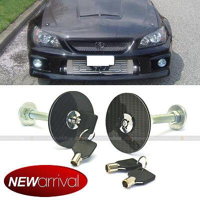 Fit Ion Car Racing Mount Latch Hood Pin Locking Kit Key Real Carbon Fiber