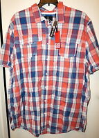 Jeans By Buffalo navy/salsa Comboplaid Short Sleeve Shirt Size 2xlt Cotton