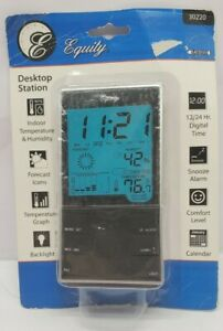 Weather Station,Equity By La Crosse Desktop Temperature Station with Time Alarm