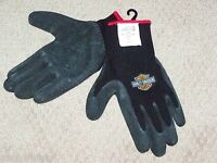 Mens Large Harley Davidson Motorcycles Black Knit Rubber Yard Work Riding Gloves