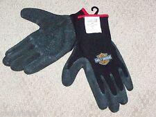 Mens Large HARLEY DAVIDSON Motorcycles Black Knit Rubber Yard Work Riding Gloves