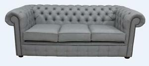 Details About Chesterfield 3 Seater Infinity Shadow Grey Faux Leather Sofa