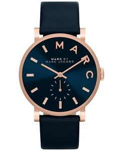 New Marc By Marc Jacobs Baker Rose Gold Navy Leather Women S Watch