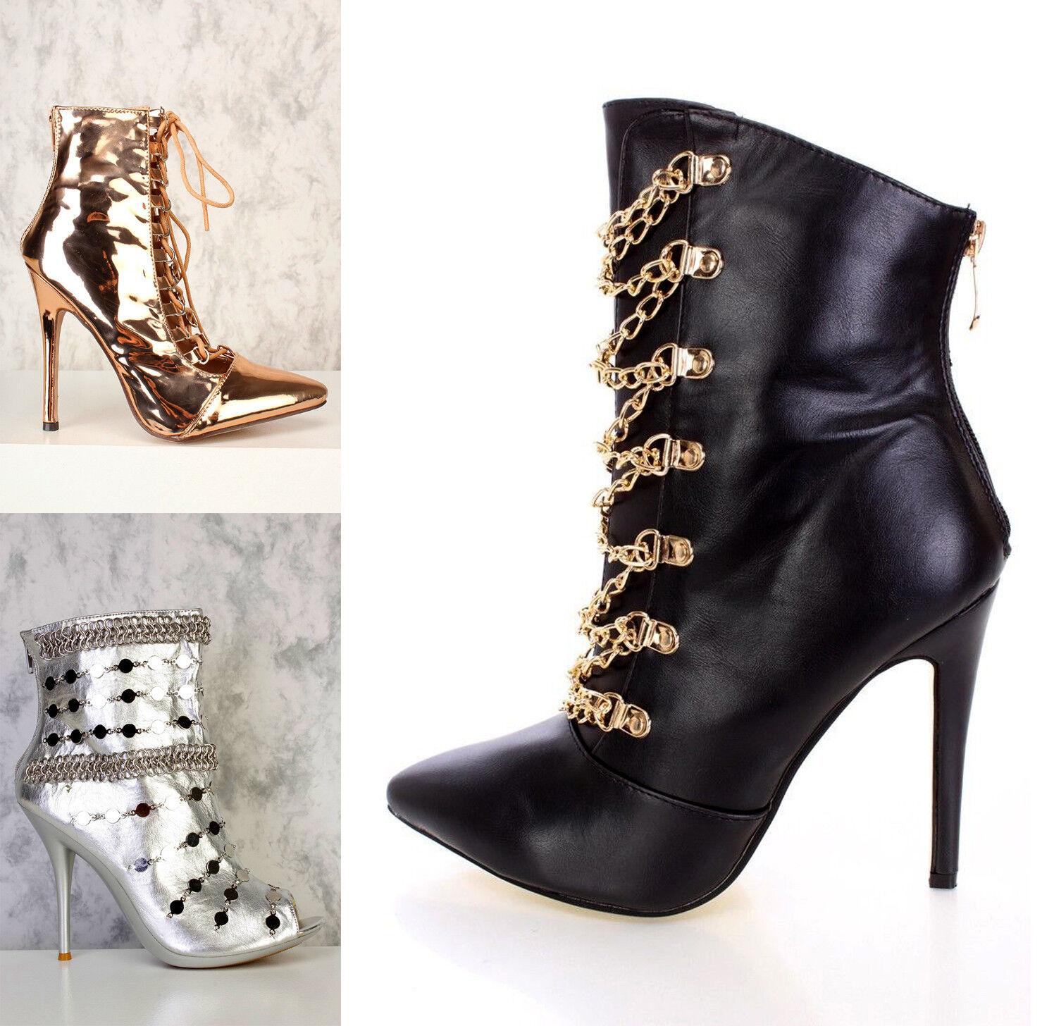 BLACK gold Silver SINGLE SOLE BOOTIES Peep Toe FAUX LEATHER Stilleto High Heels