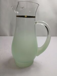 Blendo-Frosted-Light-Green-Blown-Glass-Pitcher-With-Gold-Rim-Mid-Century-Modern