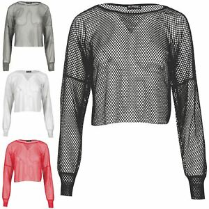 8ddd5ebb86 Ladies See Through Round Neck Baggy Fishnet Womens Oversized All ...