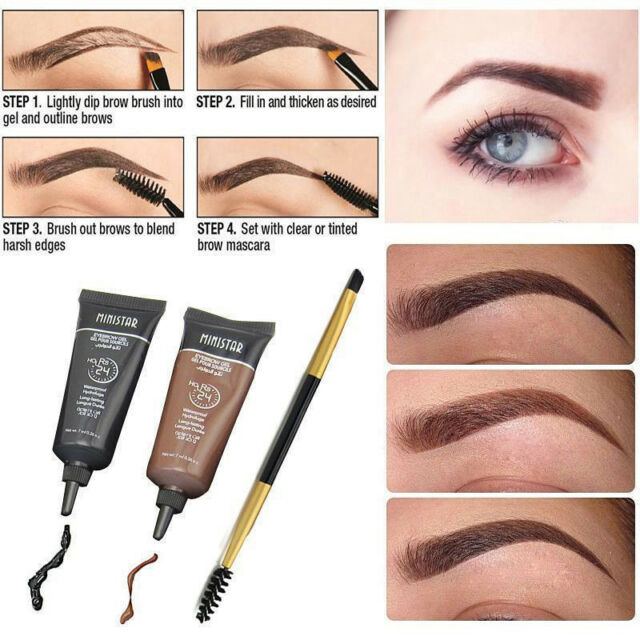 2x With Mascara Beauty Waterproof Brown Tint Eyebrow Henna Eyebrows