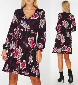 Dorothy-Perkins-Floral-Print-Wrap-Dress-with-Blouson-sleeves-Sizes-UK-12-22
