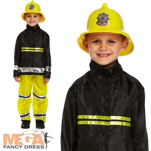 Ragazzi Pompiere Costume Bambini Fire Fighter OCCUPAZIONI Uniforme Costume Outfit