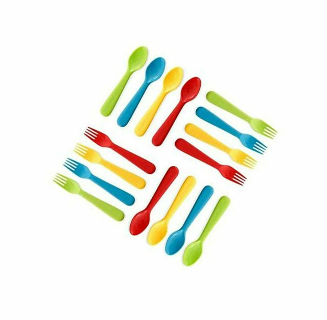 BPA Free Kids Silverware Set of 8 Kids Forks and 8 Kids Spoons Dishwasher Safe Great for Kids and Toddler Utensils Plaskidy Kids Utensils Brightly Colored Kids Plastic Cutlery Set