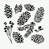 Pinecones Stencil Leaf Plant Pinecone Pine Template Craft Paint Art By Tcw