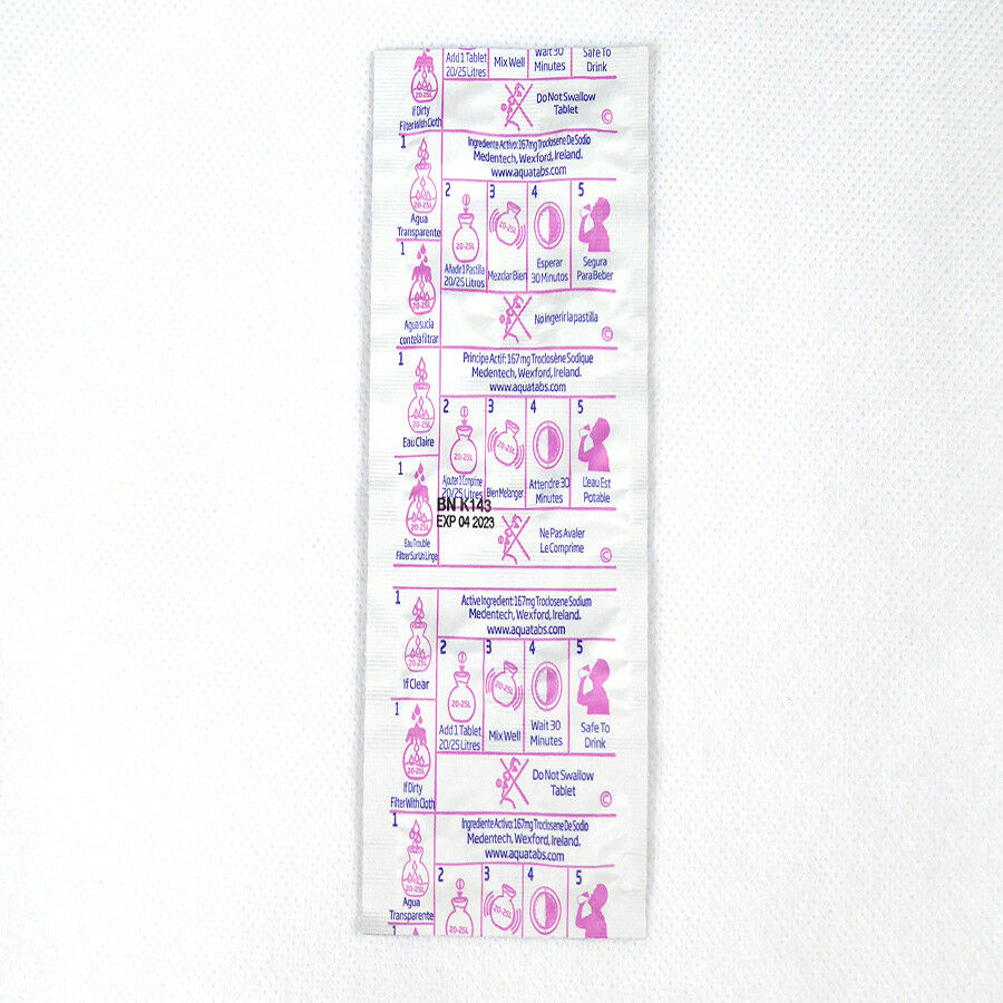 400 x Aquatabs ® - comprimés de d'eau. purification d'eau. de 1 Comprimé Par Eau 20-25 L c78418