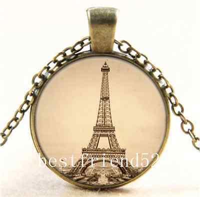 Vintage romantic Eiffel Tower in Paris Cabochon bronze Chain Pendant Necklace,