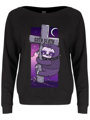 Damen Sweater Goth Sloth Slounge schwarz