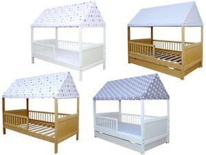 Details zu Kinderbett / Juniorbett Haus 140 x 70 cm mit Dach in  verschiedenen Farben