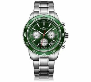 Rotary-GB03067-24-Chronograph-Henley-Green-Steel-Dial-Bracelet-Watch-RRP-250