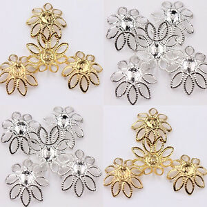 Pretty-50Pcs-Golden-Silver-Filigree-Flower-Cone-End-Bead-Caps-Charms-Crafts-DIY