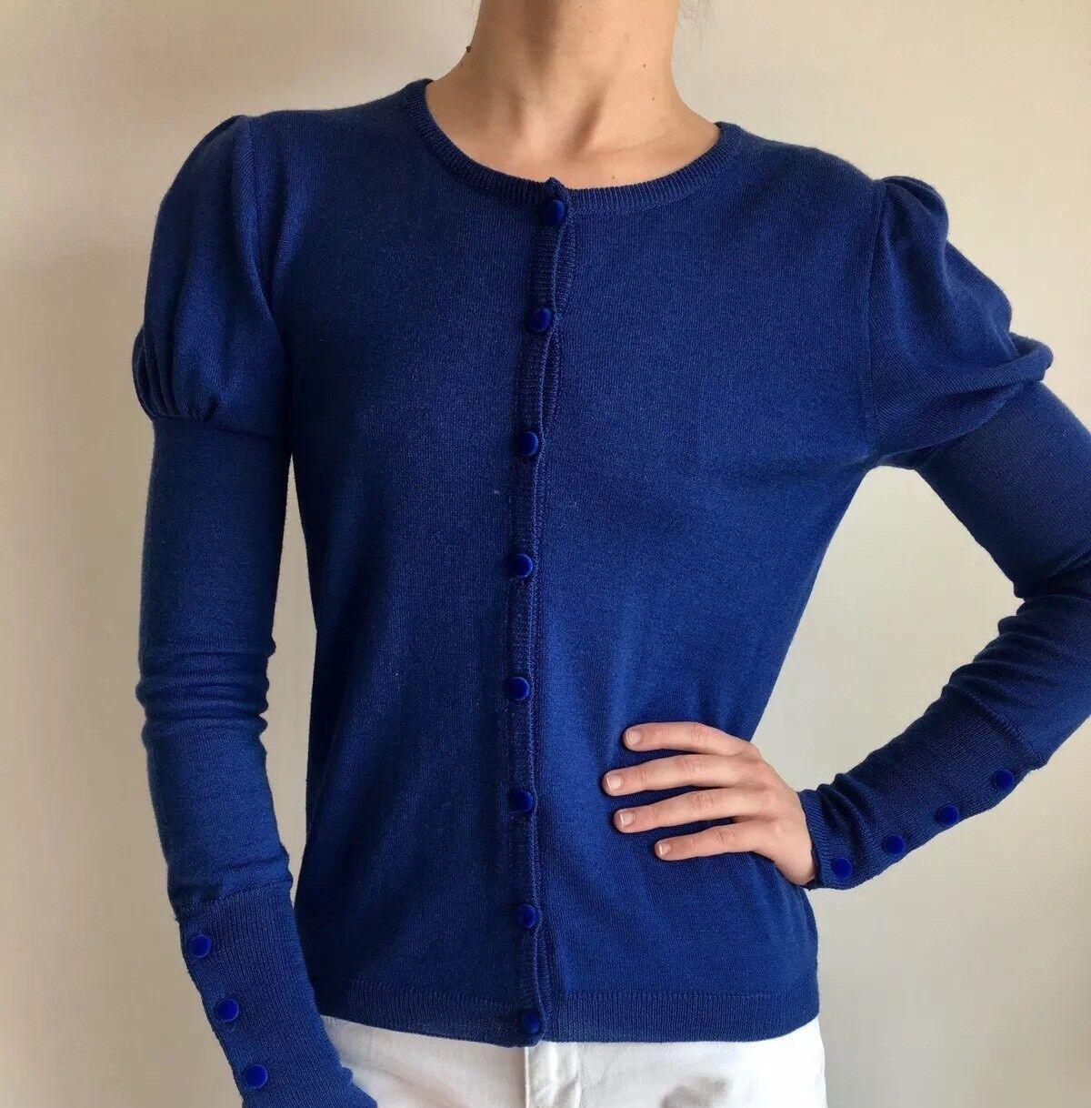 blueEGIRL blueMARINE () Sapphire bluee Wool Long Cap Sleeve Cardigan I40 F34 XS